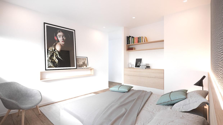 Aménagement chambre parentale, menuiserie sur-mesure, éclairage LED, décoration, revêtement mural - Architecture d'intérieur Odyssée Studio