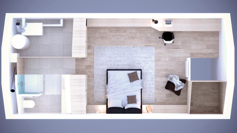 Aménagement complet d'une suite parentale dans un grenier: salle de bain, bureau et chambre - Architecture d'intérieur Odyssée Studio